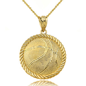 Basketball Pendant Necklace in Yellow Gold