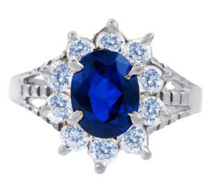 Princess Diana Blue Sapphire White Gold CZ Ring