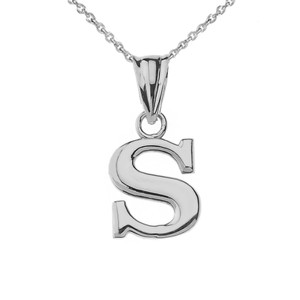 Initial Pendant Necklace in White Gold