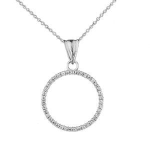 """Circle of Love"" Diamond Pendant Necklace in 14K White Gold"