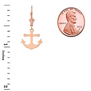 Dainty Sleek Anchor Earrings in 14K Rose Gold