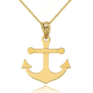 Dainty Sleek Anchor Pendant Necklace Set in Yellow Gold