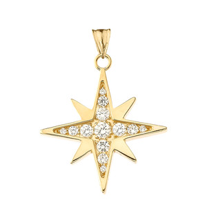 Cubic Zirconia North Star Pendant Necklace in Yellow Gold
