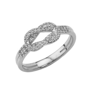 Diamond Hercules Love Knot Ring in White Gold