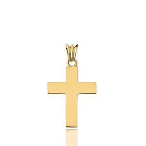"Solid Cross in Yellow Gold (1.3"")"