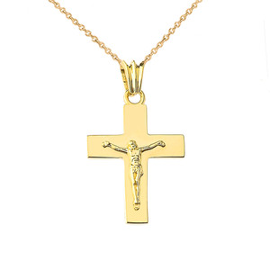 "Solid Crucifix in Yellow Gold (1.3"")"