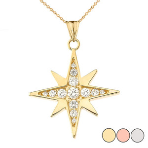 Diamond North Star Pendant Necklace in  Gold (Yellow/Rose/White)