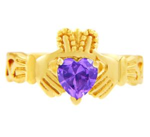Gold Claddagh Trinity Band with Alexandrite CZ Heart