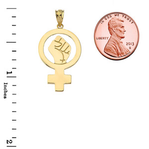 Woman Power Pendant Necklace in Yellow Gold