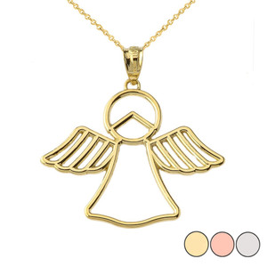 Openwork Angle Pendant Necklace in Gold (Yellow/Rose/White)