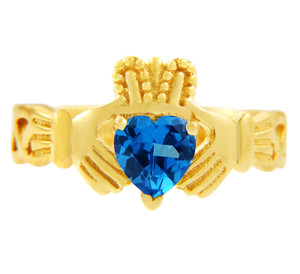 Claddagh Trinity Band Ring with Blue CZ Heart Birthstone.  Available in 14k and 10k Gold.