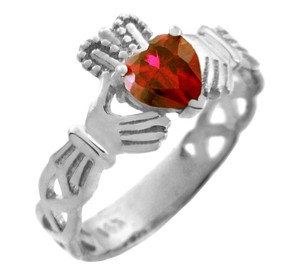 White Gold Claddagh Trinity Band with Ruby Red  CZ Heart