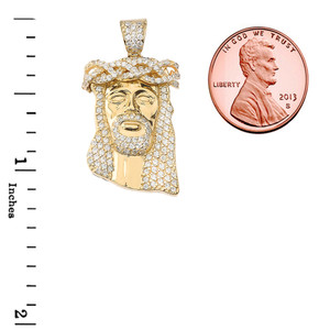 Cubic Zirconia Jesus Pendant Necklace in Gold (Yellow/Rose/White)