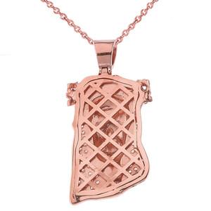Cubic Zirconia Jesus Pendant Necklace in Rose Gold