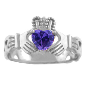 White Gold Claddagh Ring with Amethyst CZ Heart