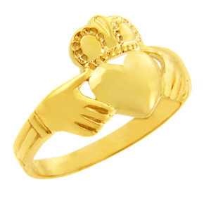 Claddagh Ring Solid Gold Traditional.  Available in 14k and 10k.