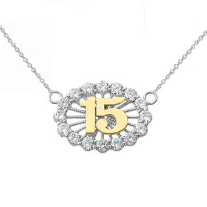 15 Quinceañera Necklace in 14K Two Tone White & Yellow Gold