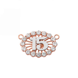 15 Quinceañera Necklace in 14K Two Tone Rose & White Gold