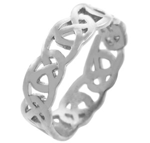 White Gold Celtic Quadrum Weave Men's Ring Band