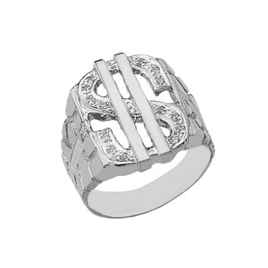 Bold Dollar Sign CZ Nugget Ring in White Gold