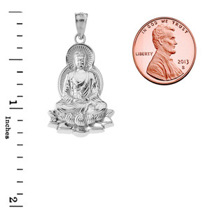 Buddha in Lotus Flower Pendant Necklace in White Gold