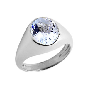 March Birthstone Gentleman's Pinky Ring in Sterling Silver