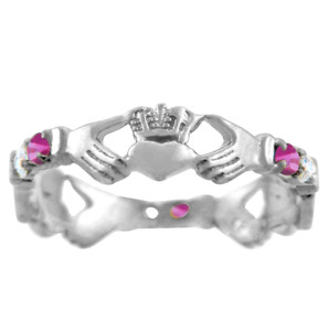 Silver Claddagh Ring with Pink and Clear Cubic Zirconias