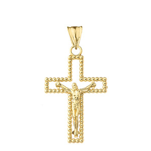 Beaded Open Crucifix Cross Pendant Necklace in Gold (Yellow/Rose/White)