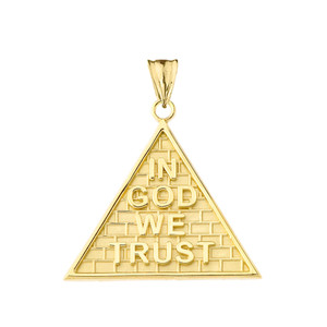 """""""In God We Trust"""" Pyramid Pendant Necklace in Gold (Yellow/Rose/White)"""