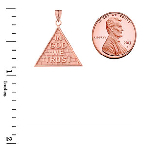 """""""In God We Trust"""" Pyramid Pendant Necklace in Rose Gold"""
