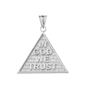 """In God We Trust"" Pyramid Pendant Necklace in Sterling Silver"