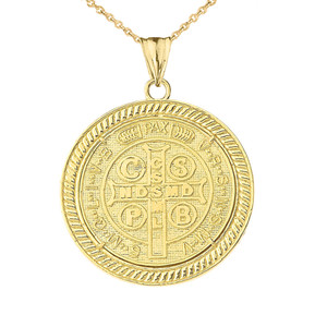 Two Sided Diamond Saint Benedict Medallion Pendant Necklace in Yellow Gold