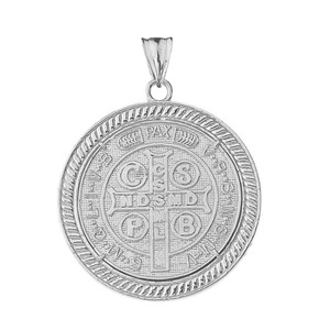 Two Sided Saint Benedict Medallion Pendant Necklace in Gold (Yellow/Rose/White)
