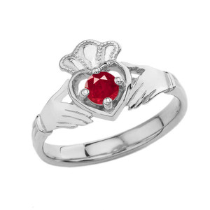 Copy of July Birthstone Claddagh with Crown Ring in White  Gold