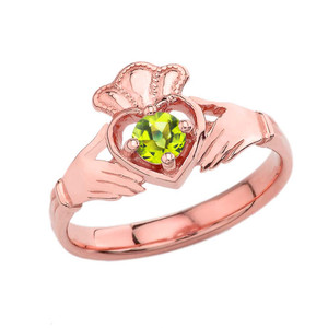 August Birthstone Claddagh with Crown Ring in Rose Gold