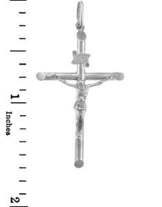White Gold Crosses and Crucifixes - Smaller Gold Crucifix Pendant