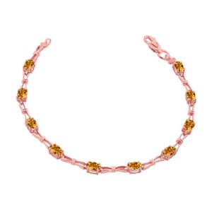 Citrine Gemstone Tennis Bracelet in Rose Gold