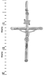 White Gold Crosses and Crucifixes - Gold Crucifix Pendant, Medium Size