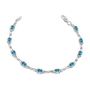 Blue Topaz Gemstone Tennis Bracelet in White Gold
