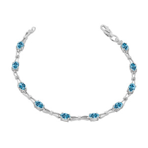 Blue Topaz Gemstone Tennis Bracelet in Sterling Silver