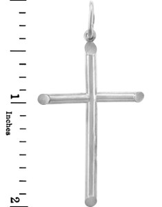 White Gold Crosses - Two Inch Gold Cross Pendant