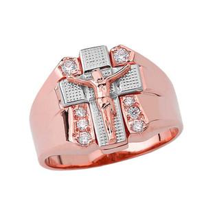 Bold Diamond Crucifix Ring in Two-Tone Rose Gold