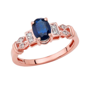1920's Style Sapphire and Diamond Art Deco Ring In Rose Gold