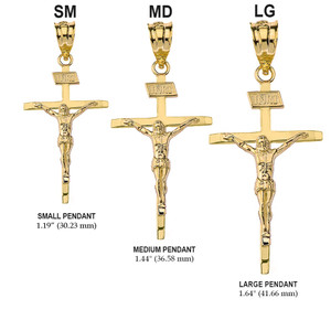 Solid Yellow Gold Jesus of Nazareth INRI Thin Crucifix Pendant Necklace