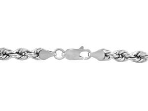 White Gold Chains: Rope Ultra Light Diamond Cut 10K Gold Chain 4 mm