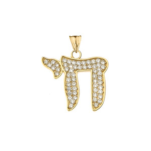 """Diamond  Chic Chai Pendant Necklace in Gold (Yellow/Rose/White) (0.75"""")"""