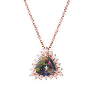 Chic CZ & Trillion Cut Mystic Topaz Pendant Necklace  in 14 Rose Gold