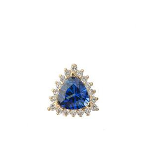 Chic Diamond & Trillion Cut Sapphire (LCS) Pendant Necklace  in 14K Yellow Gold