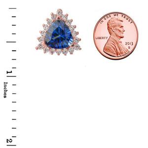 Chic Diamond & Trillion Cut Sapphire (LCS) Pendant Necklace  in 14K Rose Gold