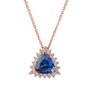 Chic CZ & Trillion Cut Sapphire (LCS) Pendant Necklace  in 14K Rose Gold